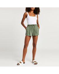 River Island Khaki Drawstring High Waisted Shorts - Green