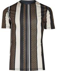 River Island Black Geometric Stripe Muscle Fit T-shirt