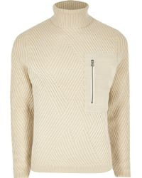 River Island - Only And Sons Beige Pocket Roll Neck Jumper - Lyst