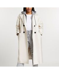 River Island Plus Beige Hooded Trench Coat - Natural