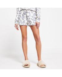 River Island Cream Leopard Print Pyjama Shorts - Blue