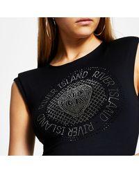 River Island Black Ri Diamante Bodysuit