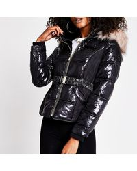 River Island Black Quilted Belted Padded Jacket
