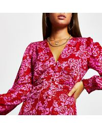River Island Pink Floral Shoulder Pad Midi Dress