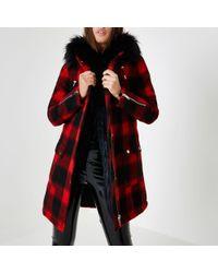 River Island Lumberjack Check Faux Fur Trim Parka - Red