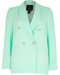 River Island Petite Green Double Breasted Blazer