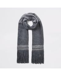 River Island Grey Colour Block Fringe Scarf