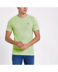 River Island - Only & Sons Green Embroidered T-shirt - Lyst