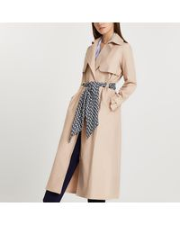 River Island Beige Belted Trench Coat - Natural
