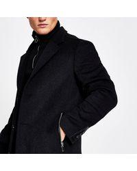 River Island Dark Gray Wool Zip Pocket Overcoat