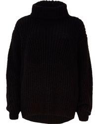 River Island Chunky Roll Neck Fisherman Sweater - Black