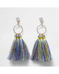 River Island - Blue Multi Colour Tassel Drop Earrings - Lyst