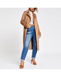River Island Beige Suedette Blocked Check Trench Coat - Natural