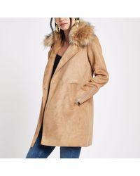 River Island Brown Faux Fur Collar Swing Coat