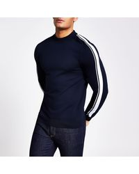 River Island Navy Stripe Sleeve Slim Fit Knitted Jumper - Blue