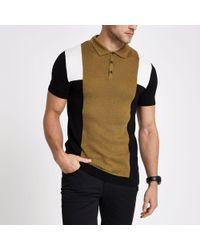 River Island - Brown Stripe Block Print Slim Fit Polo Shirt - Lyst