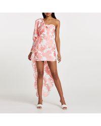 River Island Pink Floral One Sleeve Organza Mini Dress