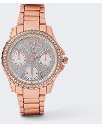 River Island Rose Gold Glitter Watch - Orange