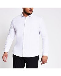 River Island Big And Tall White Slim Fit Shirt
