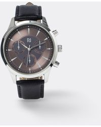 River Island Black Rose Gold Face Leather Watch