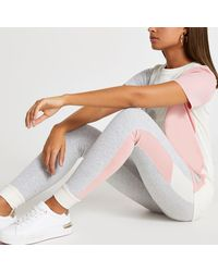 River Island - Grey Ri Couture Colour Block leggings - Lyst