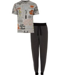 River Island Star Wars Print Loungewear Set - Gray