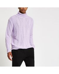 River Island - Lilac Chunky Cable Knit Roll Neck Jumper - Lyst