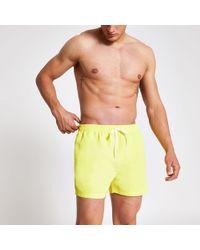 515e9118cc River Island Yellow Neon Mid Length Swim Shorts in Black for Men - Lyst