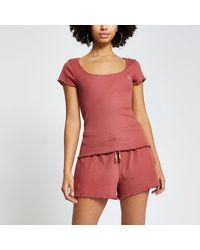 River Island Pink 'rir' Ribbed Loungewear Set