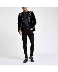 River Island - Black And Gold Embroidered Skinny Fit Blazer - Lyst