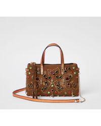 River Island - Tan Metallic Embellished Cross Body Chain Bag Tan Metallic Embellished Cross Body Chain Bag - Lyst