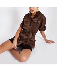 River Island Brown Utility Belted Waist Shirt