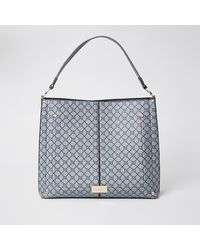 River Island Gray Ri Monogram Slouch Bag
