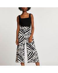River Island Beige Shirred Waist Zebra Print Culottes - Natural