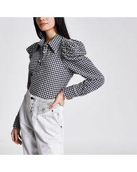 River Island White Gingham Long Puff Sleeve Shirt Bodysuit