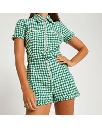 River Island Boucle Playsuit - Green