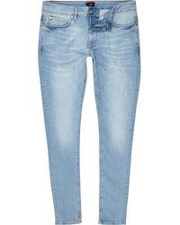 River Island - Light Blue Ollie Spray On Faded Skinny Jeans - Lyst