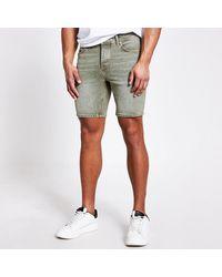 River Island Washed Dylan Slim Fit Denim Shorts - Multicolour
