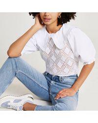 River Island White Crochet Collar Short Sleeve Blouse Top
