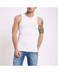 River Island - Muscle Fit Vest Top - Lyst