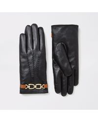 River Island Black Chain Faux Fur Lined Leather Gloves