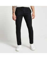 River Island Navy Jersey Speckled Check Smart joggers - Blue