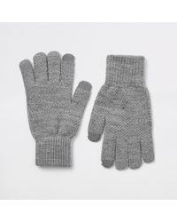 River Island Dark Gray Ribbed Cuff Gloves
