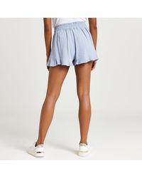 River Island Blue Frill Hem Linen Shorts