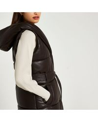 River Island Brown Faux Leather Padded Gilet
