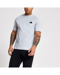 River Island Mcmlx Grey Badge Slim Fit T-shirt