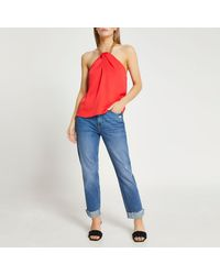 River Island Petite Red Gold Chain Halter Neck Top