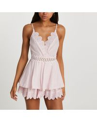 River Island Pink Frill Beach Cover Up Playsuit