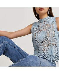 River Island Sleeveless Lace Shell Vest Top - Blue