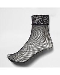River Island Black Lace Fishnet Socks